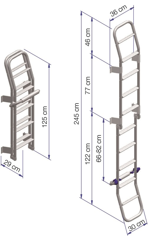 Thule Ladder Double 10 Steps Foldable dimensions