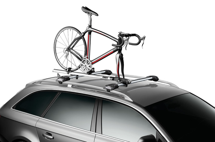 Roof bike rack-Thule Paceline 527-On a car