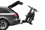 Thule T2 Pro XT with biikes tilted on car-silver