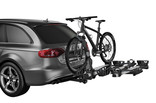 Thule T2 Pro XT Add-on with bikes on car-siilver