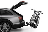 Thule DoubleTrack Pro XT 905402 tilted with load