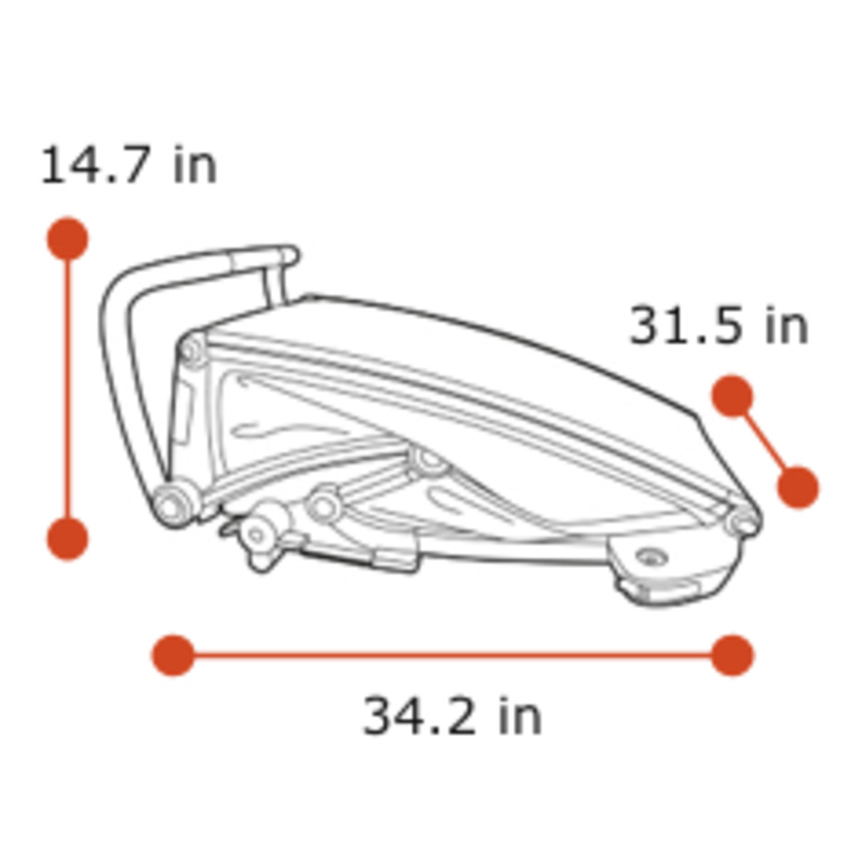 Thule Chariot Lite 2 - Folded dimensions