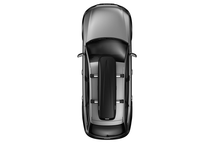 Rooftop cargo carrier Thule Pulse on a car from above