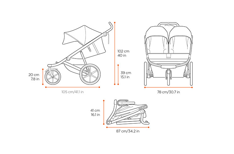 Dimensions of stroller Thule Urban Glide Double