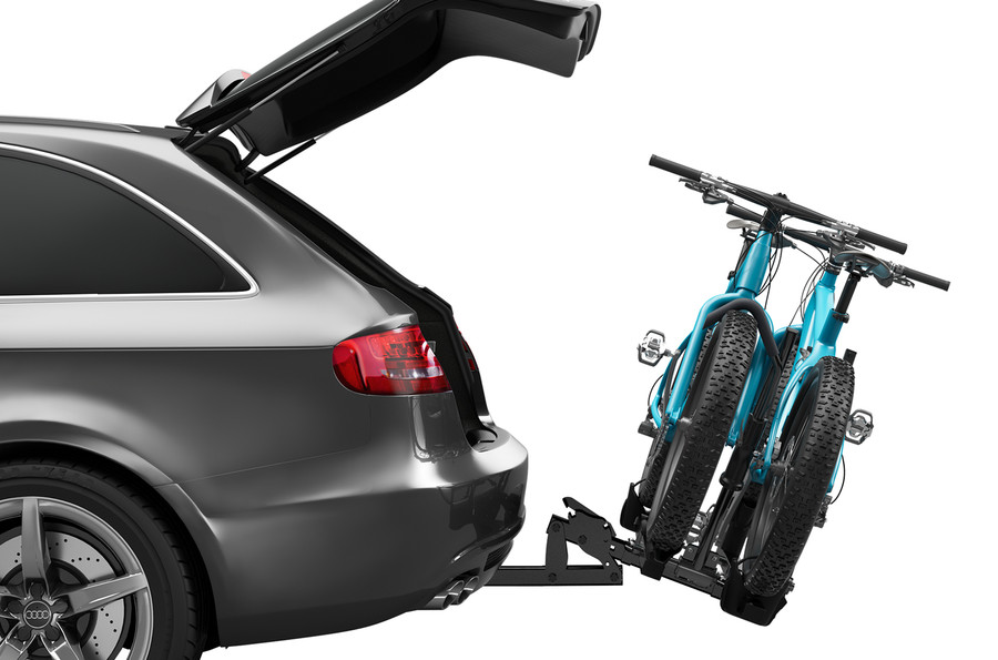 Bike Carrier Thule T2 Classic 9044 Tilted On A Car