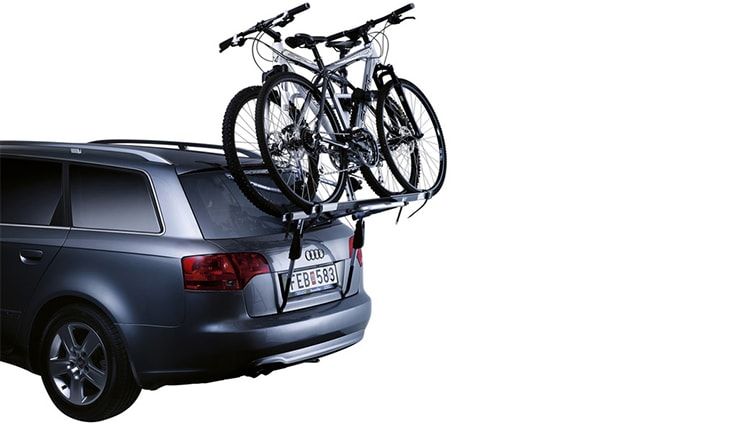 Thule bike rack mounted on the rear of the car