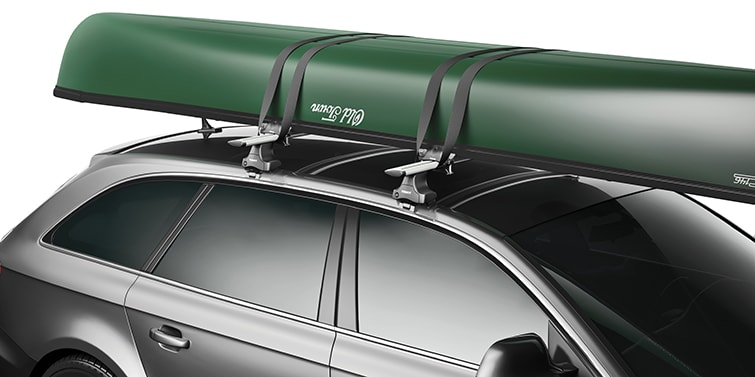 Thule canoe rack on car